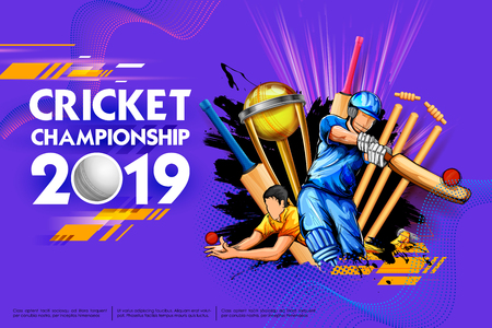 Batsman and bowler playing cricket championship sports 2019