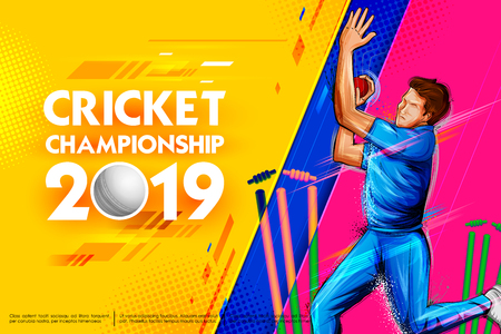 Bowler bowling in cricket championship sports 2019