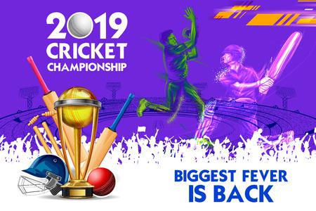 Batsman and bowler playing cricket championship sports 2019