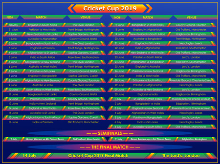 Cricket Cup 2019 match schedule chart sports