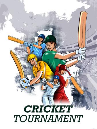 Ilustración vectorial fácil de editar del bateador del jugador en el fondo del Torneo de Campeonato de Cricket