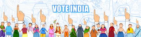 Personas de diferentes religiones mostrando el dedo votante para las elecciones generales de la India