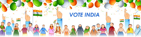 People of different religion showing voting finger for General Election of India