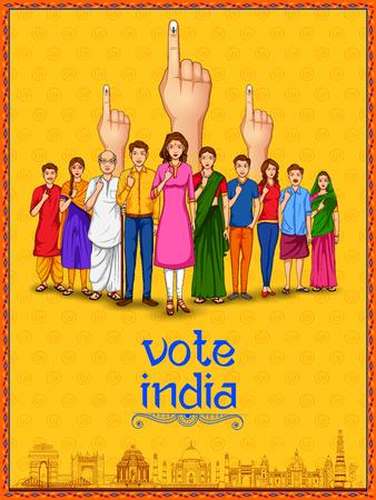Les gens de religion différente montrant le doigt de vote pour l'élection générale de l'Inde Vecteurs