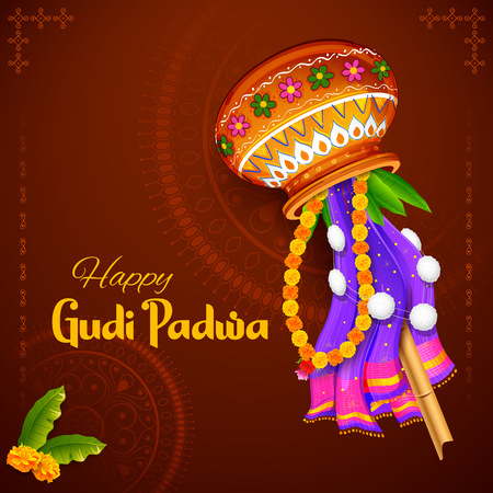 Illustration de la célébration du Nouvel An lunaire Gudi Padwa à Maharastra en Inde Vecteurs