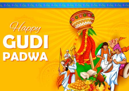 Illustration de la célébration du Nouvel An lunaire Gudi Padwa à Maharastra en Inde