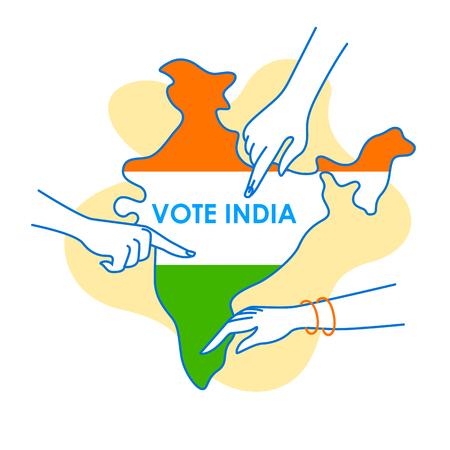 Contexte du concept de Vote India pour la bannière de la campagne électorale de la démocratie dans le vecteur
