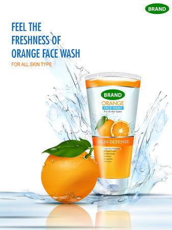 Banner promozionale pubblicitario per un lavaggio del viso schiumogeno fresco e rinfrescante Vettoriali