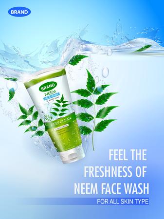 illustration vectorielle facile à modifier de la bannière de promotion publicitaire pour un lavage du visage moussant frais et rafraîchissant