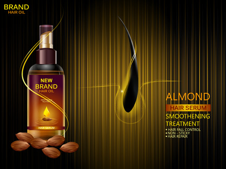 easy to edit vector illustration of Advertisement promotion banner for almond oil hair serum for smoothening and strong hair Ilustração