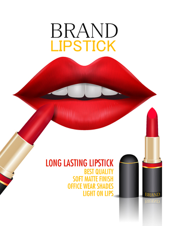 easy to edit vector illustration of Advertisement promotion banner for trendy colorful brand Lipstick fashion