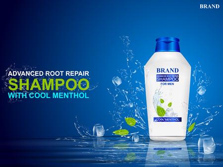 Bannière de promotion publicitaire pour le shampooing au menthol pour cheveux secs et abîmés