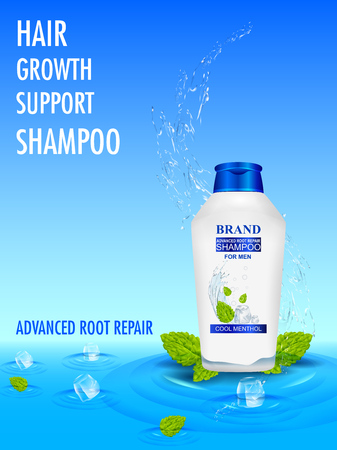 Advertisement promotion banner for Menthol Shampoo for dry and damaged hair