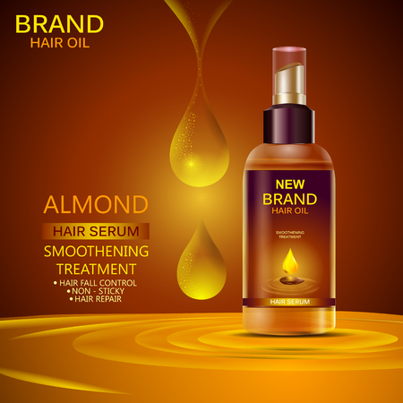 Advertisement promotion banner for almond oil hair serum for smoothening and strong hair