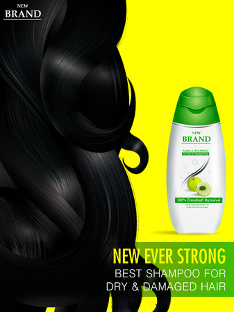 easy to edit vector illustration of Advertisement promotion banner for Amla Shampoo for dry and damaged hair