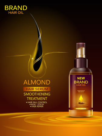 Advertisement promotion banner for almond oil hair serum for smoothening and strong hair Stockfoto - 121829576