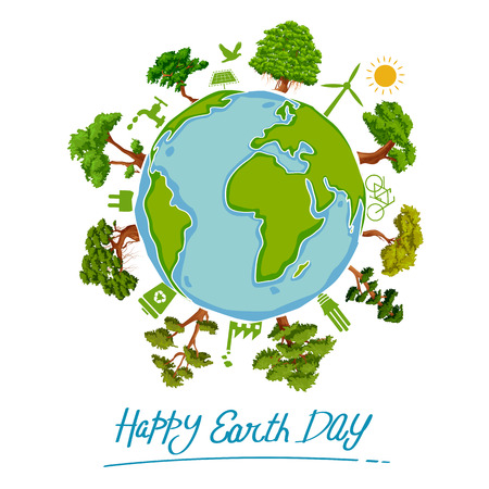 Concetto della Giornata della Terra per un globo verde e sicuro Vettoriali