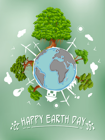 illustration of Earth Day concept for safe and Green Globe Illustration