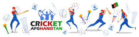 illustration of Player batsman and bowler of Team Afghanistan playing cricket championship sports