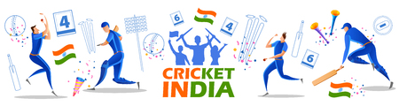 illustration of Player batsman and bowler of Team India playing cricket championship sports 矢量图像