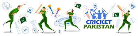 illustration of Player batsman and bowler of Team Pakistan playing cricket championship sports  イラスト・ベクター素材