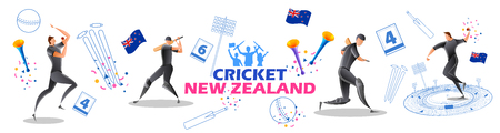 illustration of Player batsman and bowler of Team New Zealand playing cricket championship sports  イラスト・ベクター素材