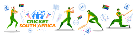 illustration of Player batsman and bowler of Team South Africa playing cricket championship sports