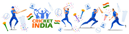 illustration of Player batsman and bowler of Team India playing cricket championship sports  イラスト・ベクター素材