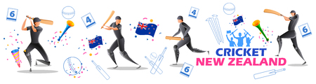 illustration of Player batsman and bowler of Team New Zealand playing cricket championship sports 矢量图像
