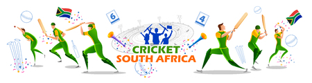 Player batsman and bowler of Team South Africa playing cricket championship sports Çizim