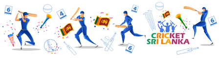 illustration of Player batsman and bowler of Team Sri Lanka playing cricket championship sports