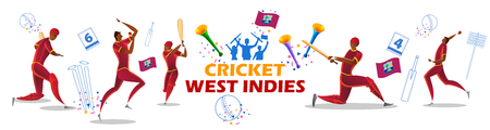 illustration of Player batsman and bowler of Team West Indiesn playing cricket championship sports