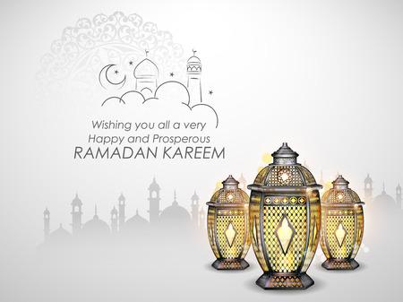 Ramadan Kareem Salutations généreuses du Ramadan pour l'Islam festival religieux Eid avec lampe illuminée Vecteurs