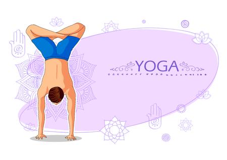 illustration of woman doing asana for International Yoga Day on 21st June Ilustração Vetorial