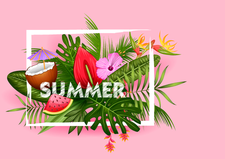 illustration of Summer time poster wallpaper for fun party invitation banner template Иллюстрация