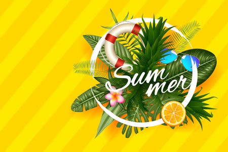 illustration of Summer time poster wallpaper for fun party invitation banner template 向量圖像