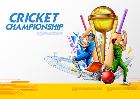 Ilustración de jugador de bateador jugando deportes de campeonato de cricket 2019