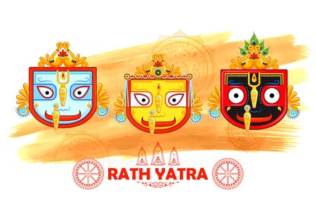 Lord Jagannath, Balabhadra and Subhadra on annual Rathayatra in Odisha festival