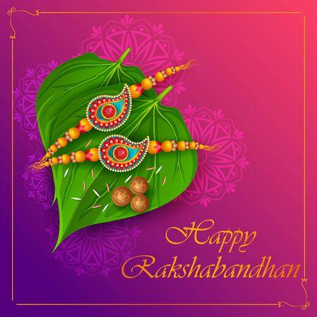 Elegante Rakhi per il legame tra fratello e sorella al festival Raksha Bandhan dall'India in un saluto vettoriale