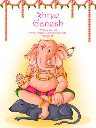 Lord Ganpati in vector for Happy Ganesh Chaturthi festival celebration of India Vectores