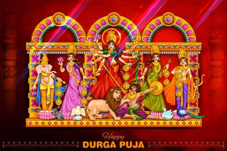 Goddess Durga in Happy Durga Puja Subh Navratri Indian religious header banner