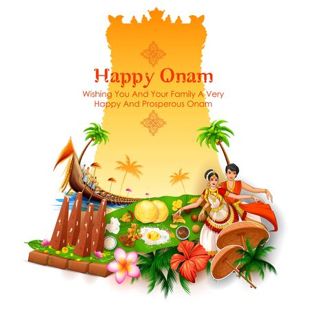 Colorful holiday banner  for Happy Onam religious festival of South India Kerala Çizim
