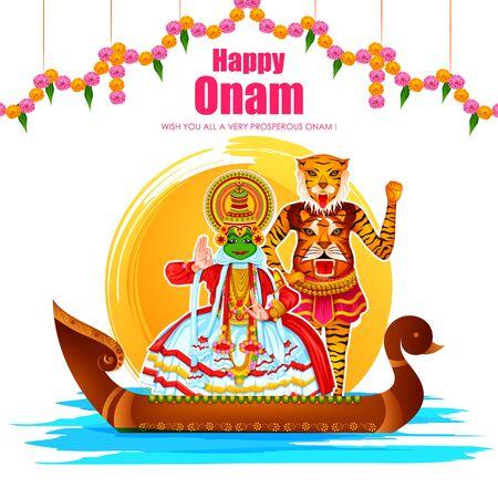 Pozdrowienia z okazji festiwalu Happy Onam z okazji dorocznego festiwalu hinduskiego w Kerali w Indiach