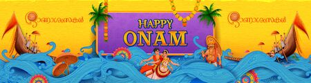 Colorful holiday banner  for Happy Onam religious festival of South India Kerala Stock Photo