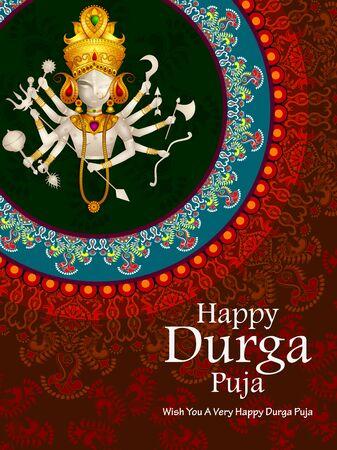 Happy Durga Puja India festival holiday Illusztráció