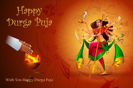easy to edit vector illustration of Happy Durga Puja India festival holiday background Vektoros illusztráció