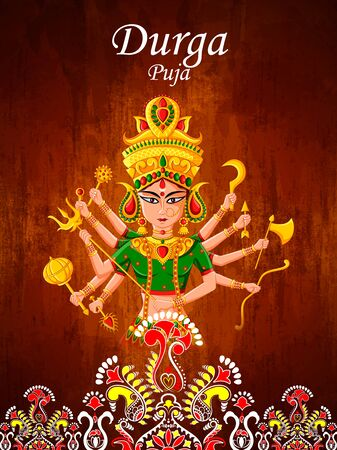 easy to edit vector illustration of Happy Durga Puja India festival holiday background