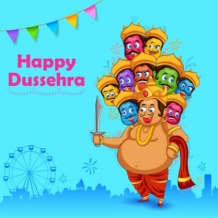 illustration of Ravana with ten heads for Navratri festival of India poster for Dussehra Vector Illustration