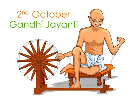 illustration of India background with Nation Hero and Freedom Fighter Mahatma Gandhi for Gandhi Jayanti 矢量图像