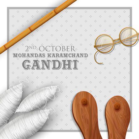illustration of India background with Nation Hero and Freedom Fighter Mahatma Gandhi for Gandhi Jayanti Ilustracja